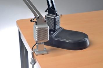 Schreibtischleuchte Ku. | schwarz m.Standfuß u.Tischklemme m.Leuchtmittel,Ausladung max.820mm