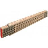 STABILA Holz-Gliedermaßstab Type 607 N-S, 2 m, schlanke Lättchen, naturfarbene metrische Skala