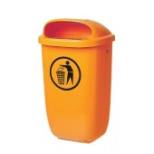 Abfallbehälter 50l Ku. | orange m.Regenhaube H.395xB.250xT.650mm DIN30713