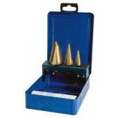 Blechschälbohrersatz | 3-14/5-20/16-30,5mm HSS-TIN Ku.-Kassette 4tlg.