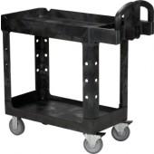 Etagenwagen mit 2 Etagen | Gesamt-Trgf.226kg kpl.PP schwarz L990xB450xH850mm