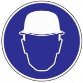 Gebotszeichen | Kopfschutz benutzen D.200mm blau/weiß ASR A1.3/DIN4844-2/BGV A8 Kunststoffschild