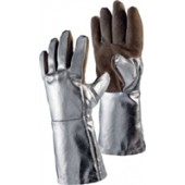 Hitzehandschuhe L.38cm | Sebatan/Preox-Aramid-Alu 5Finger Kat.III Jutec bis 1000 Grad C Strahlungshitze