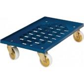 Kistenroller ABS-Ku. | Ladefläche L600x400mm m.Gitter blau Trgf.250kg lebensmittelecht