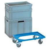 Kistenroller ABS-Ku. | Ladefläche L610x410mm offen blau Trgf.250kg f.Transport-Kästen L600xB400mm
