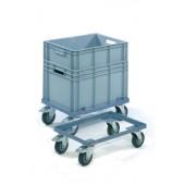 Kistenroller Winkelstahl | Ladefläche L610xB410mm offen taubenblau Trgf.250kg PROMAT