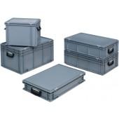 Kunststoffkoffer grau | L.400xB.300xH.333mm m.2 Griffen Stirnseite PP