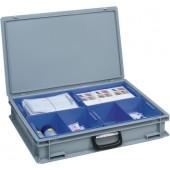 Kunststoffkoffer grau | L.600xB.400xH.133mm m.4 Kästen 1 Griff PP