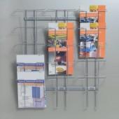 Prospekthalter 15 Fächer | DIN A4 f.Wandbefestigung H780xB710xT75mm Draht silber