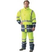 Regenhose Warnschutz | Gr. L gelb/marine EN471 Klasse 1 Comfort Stretch