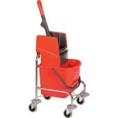 Reinigungswagen 1 | Eimer 17l rot u.Ku.-Presse Kunststoffgestell VERMOP L.500xB.400xH.840mm