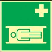 Rettungszeichen | Krankentrage B148xH148mm grün/weiß nachleuchtend ASR A1.3/DIN4844-2/BGV A8 Kunststoffschild