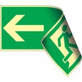 Rettungszeichen | Rettungsweg doppelseitig li./re. 297x148mm g/w ASR A1.3/DIN4844-2/BGV A8 Kunststoffschild