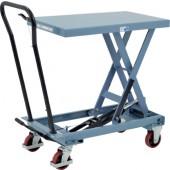 Scherenhubtischwagen | Trgf.250kg Hubbereich H.330-910mm Tischfläche L830xB500mm PROMAT fusshydraulisch