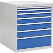 Schubladenschrank | H1019xB1005xT736mm lichtgrau/signalblau 1x50 1x75 1x100 1x125 2x150 1x250mm Vollauszug 80kg