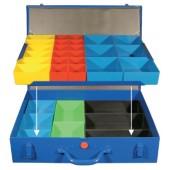 Sortimentskasten a.Blech | 32lose Einsätze rot/gelb/blau/grün/sw 440x330x95mm