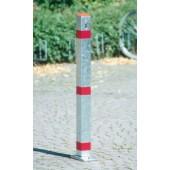 Sperrpfosten verz. | rote Streifen kippbar m.Schloss z.Aufdübeln
