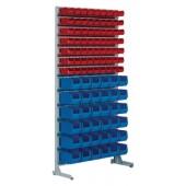Ständerregal | H2010xB1010xT400mm einseitig 63 Sichtlagerkästen MK5 rot 36 MK4 blau