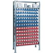 Steck-Grundregal verz. | H2000xB1000xT400mm 12 Böden Lagerboxen 60xGr.3 blau 60xGr.3 rot