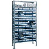 Steck-Grundregal verz. | H2000xB1000xT400mm 12 Böden Regalboxen 60xL400mm blau
