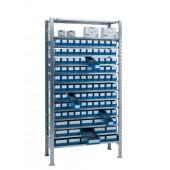 Steck-Grundregal verz. | H2000xB1000xT400mm 14 Böden Lagerboxen 90xGr.3 15xGr.4 blau