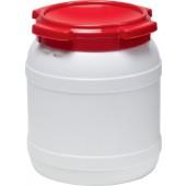 Weithalsfass weiß Deckel | rot 15,4l D.274xH.328mm Einfüllöffnung-D.204mm