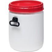 Weithalsfass weiß Deckel | rot 34l D.338xH.447mm Einfüllöffnung-D.295mm